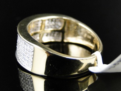 10K MENS/LADIES YELLOW GOLD 8 MM WEDDING BAND REAL DIAMOND RING 1/2 CT