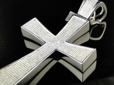 MENS EXTRA LARGE WHITE GOLD FINISH 4 INCH DIAMOND CROSS PENDANT 2 CT