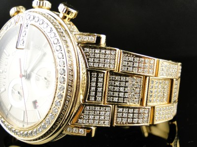 fully iced out mens 14 ct diamond gold finish gucci ya101312 watch click to view supersize image