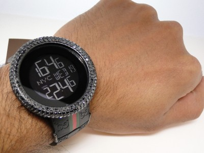 17 0 ct mens custom big bezel full i gucci digital black diamond watch click to view supersize image