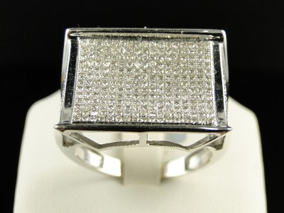 MENS 10K WHITE GOLD ROUND CUT PAVE DIAMOND XL PINKY FASHION RING 1 CT