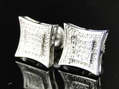 NEW MENS/LADIES WHITE GOLD FINISH DIAMOND 10 MM DUAL KITE STUDS