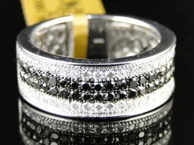 10k mens womens white gold blackwhite diamond engagement wedding band ring 1ct