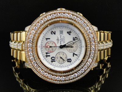 mens breitling super avenger aeromarine 55 mm gold genuine diamond click to view supersized image