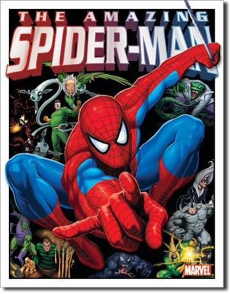 Metal Tin Sign Spider Man His Foes Kids Room Decor 16x12 5 US Dav Life