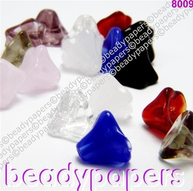 28-100-Glass-Beads-Small-Drop-Flower-Bell-7-mm-x-9-mm-Many-Colours-8009