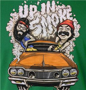 Cheech and chong up in smoke cartoon tee green stoner t for Stoner t shirts india