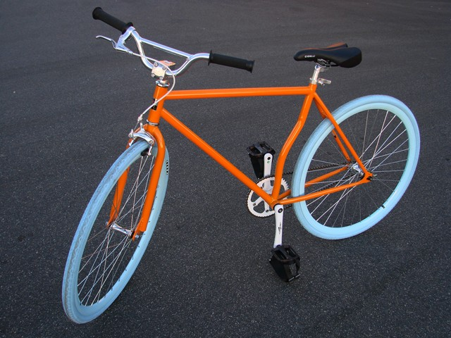 52cm Orange Blue Rim Fixed Gear Road Bike Steel Track Bicycle Single Speed Fixie