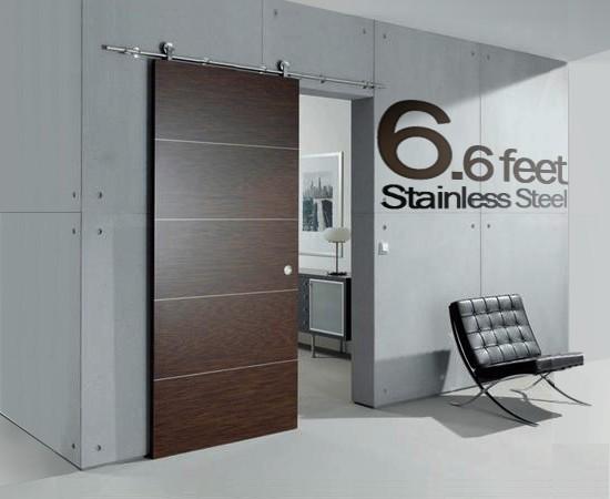 6 Ft Modern Stainless Steel Interior Sliding Barn Wooden Door Hardware Track