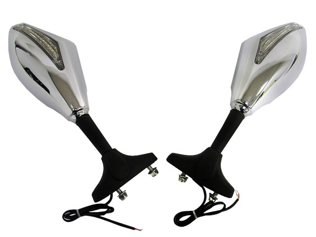 Chrome integrated turn signal mirrors for yamaha fzr yzf for Yamaha r6 aftermarket mirrors