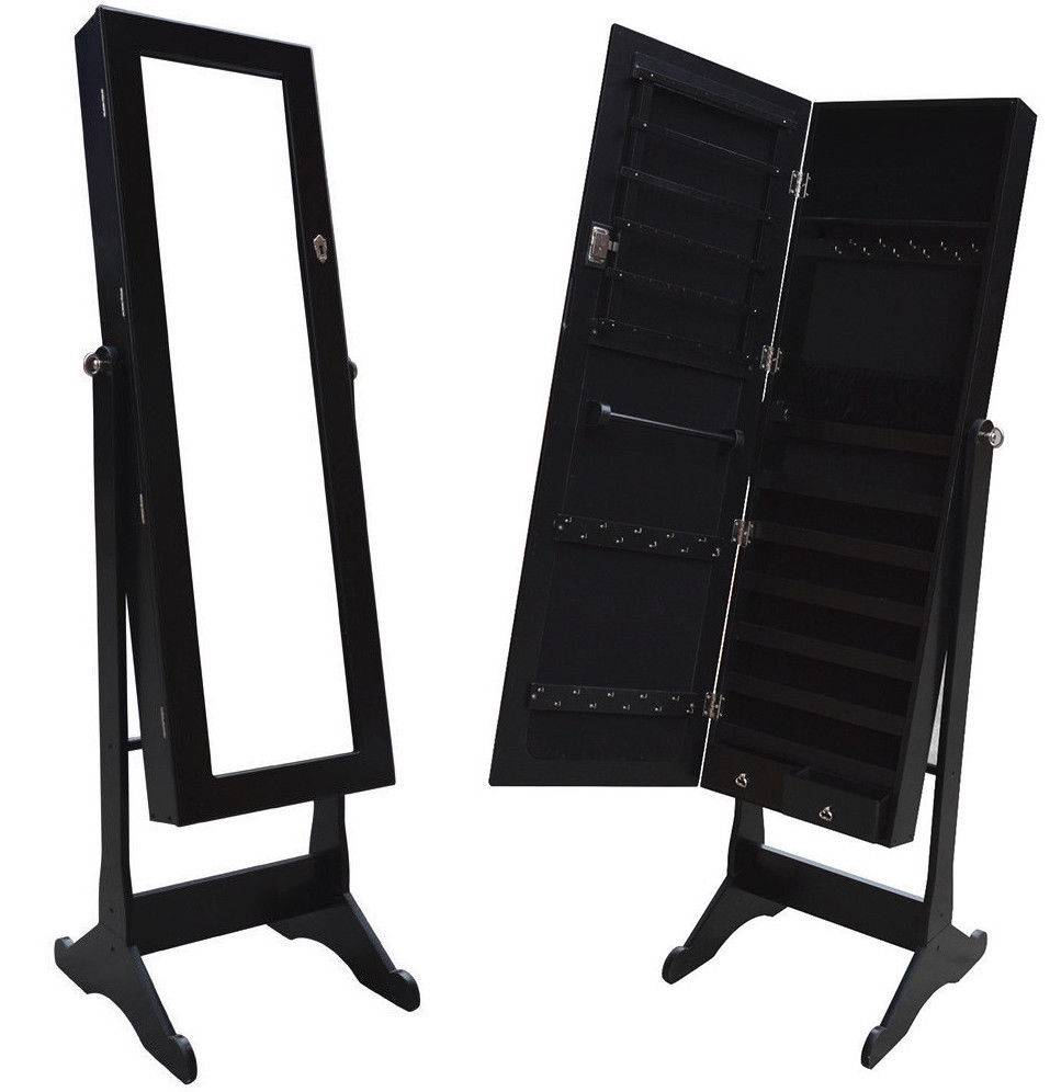 black large mirrored jewelry cabinet armoire organizer storage box stand cheval ebay. Black Bedroom Furniture Sets. Home Design Ideas