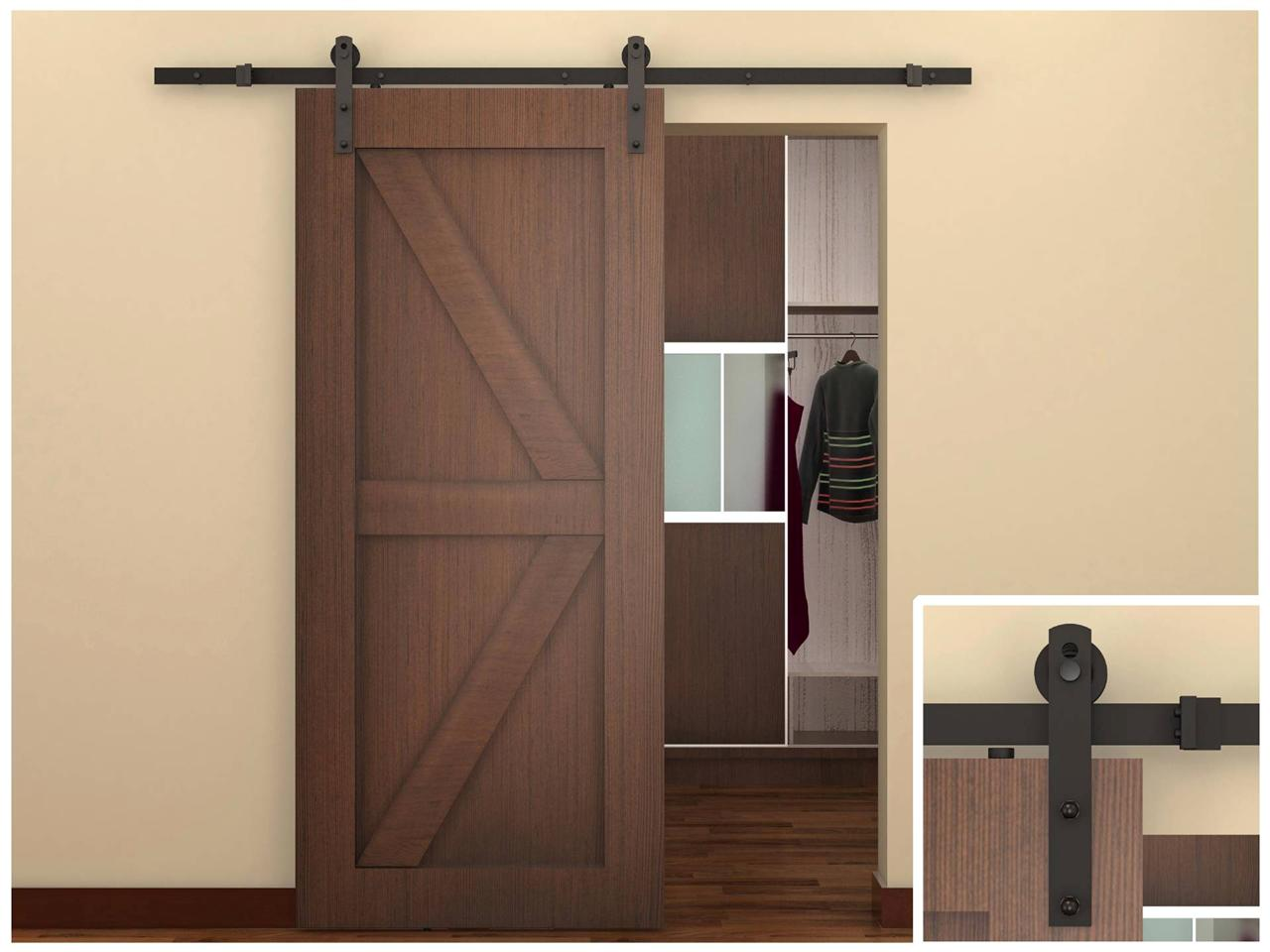6 Ft Sliding Window : Ft dark coffee antique style steel sliding barn wood