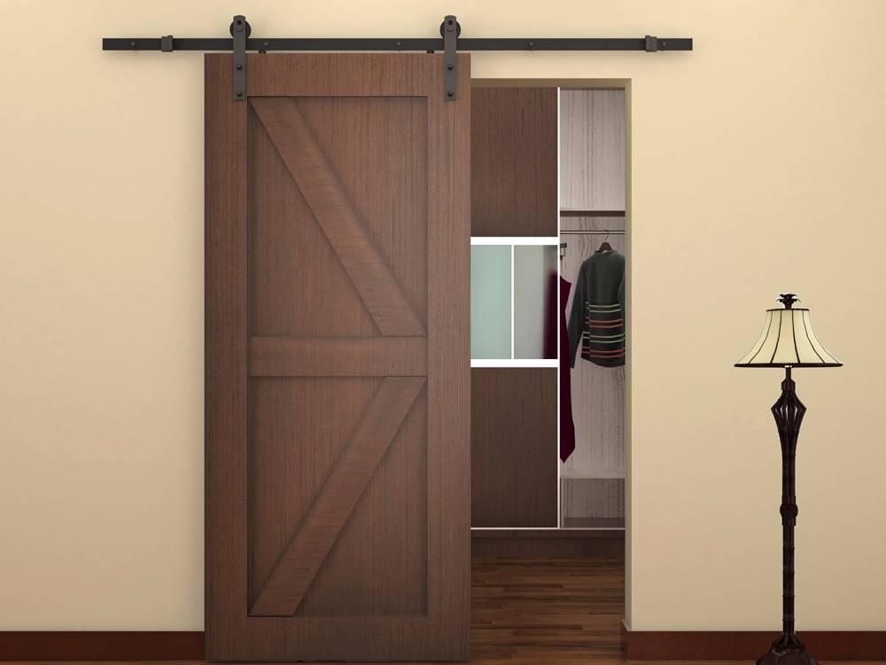 6 ft black antique style steel sliding barn wood door for Sliding door styles