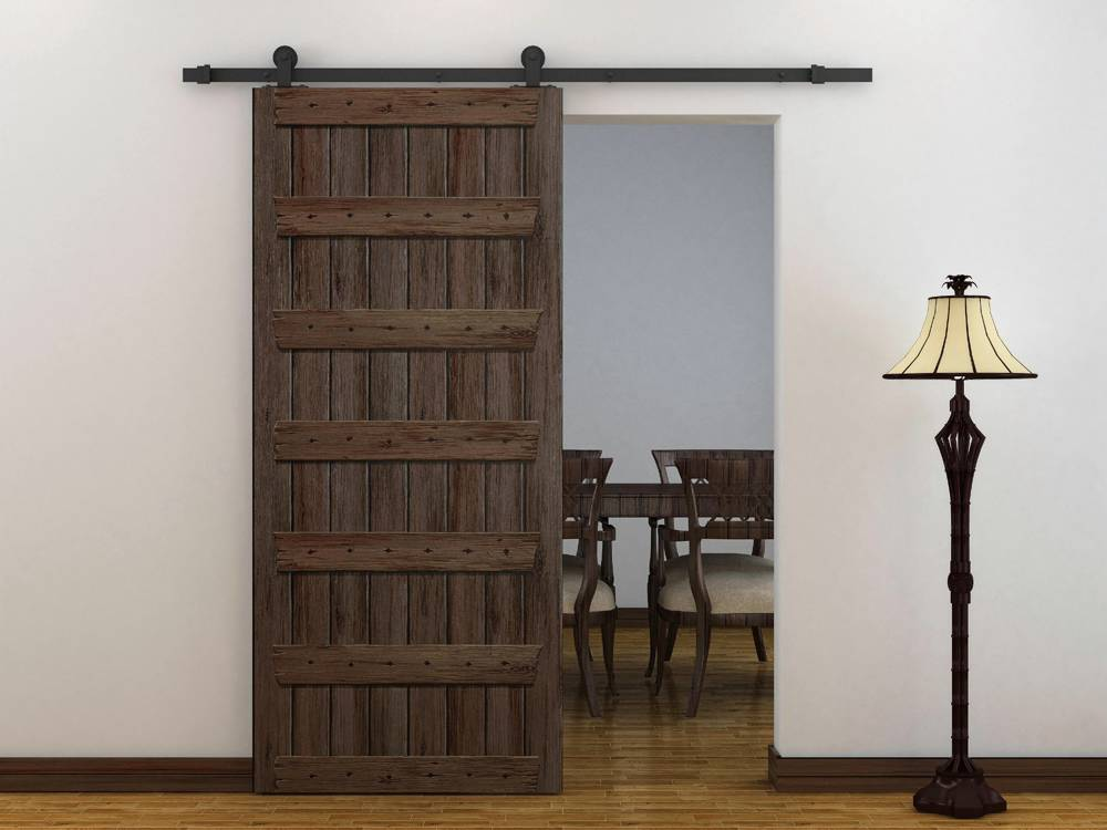 European Style Frosted Black Barn Wood Sliding Door Hardware Track New