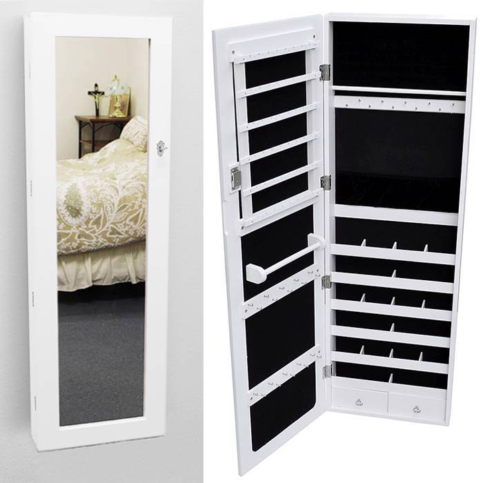 glass wall mount mirrored jewelry cabinet armoire organizer storage white case ebay. Black Bedroom Furniture Sets. Home Design Ideas