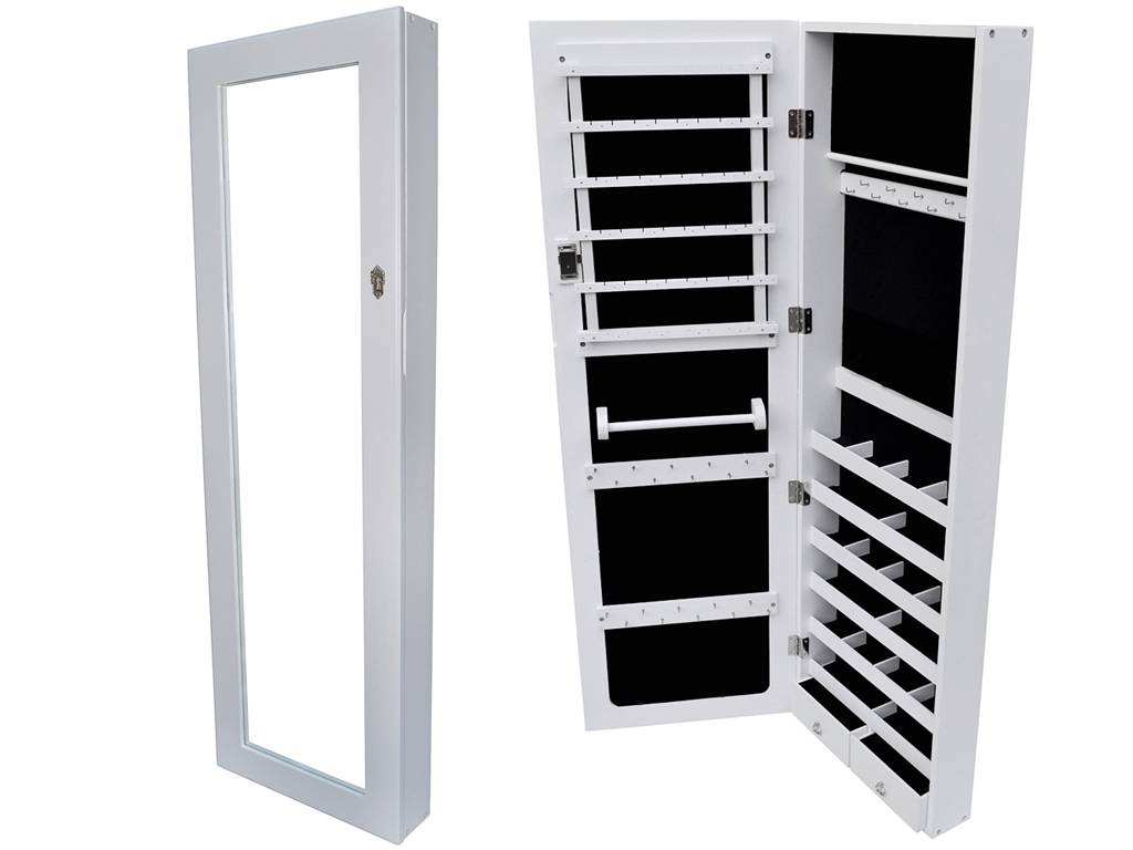 white wall mount mirrored jewelry cabinet armoire organizer storage jewelry box ebay. Black Bedroom Furniture Sets. Home Design Ideas