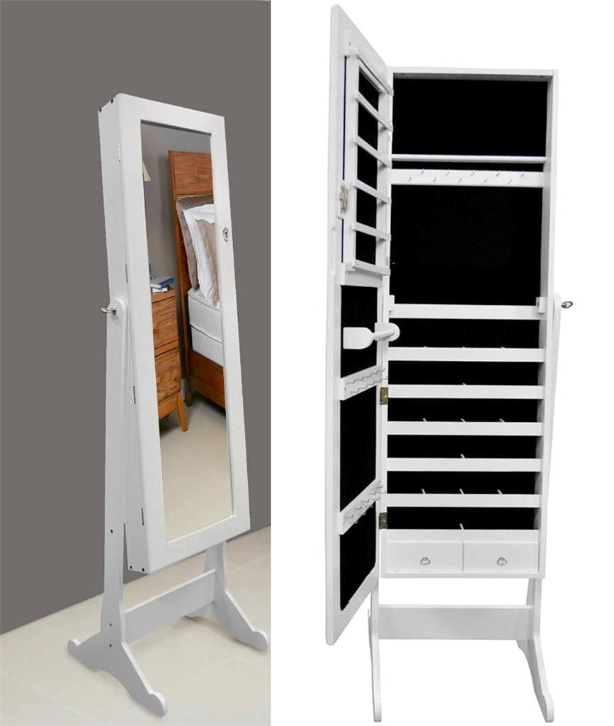 white glass mirrored jewelry cabinet armoire organizer storage box stand cheval. Black Bedroom Furniture Sets. Home Design Ideas
