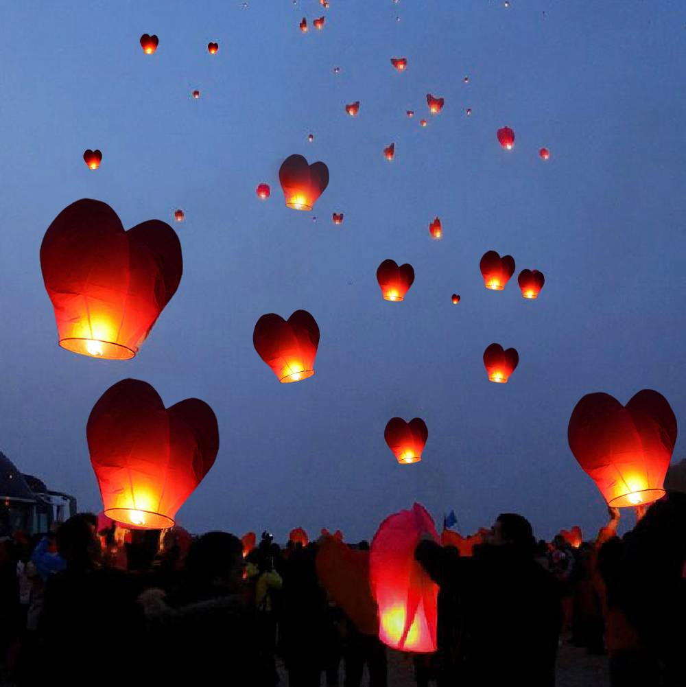 20 Red Heart Paper Chinese Lanterns Sky Fly Candles Lamps