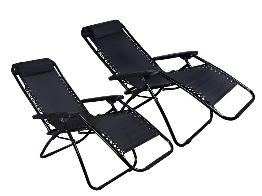 2Pcs Black Zero Gravity Patio Beach Chairs Outdoor Yard Folding Lounge Recliner