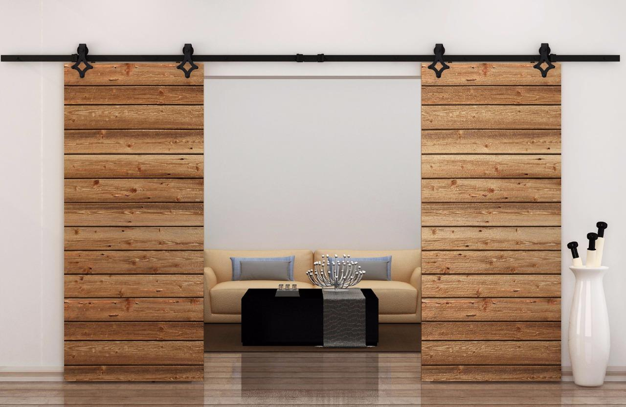 12ft country style black barn wood steel double sliding for Wooden sliding doors