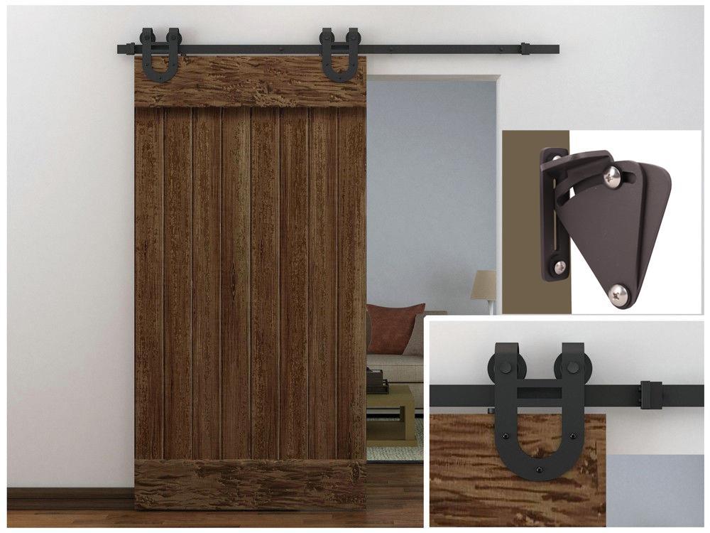 6 Ft Antique Country Dark Coffee Barn Wood Sliding Door