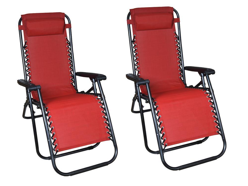 2Pcs Red Zero Gravity Patio Beach Chairs Outdoor Yard Folding Lounge Recliner