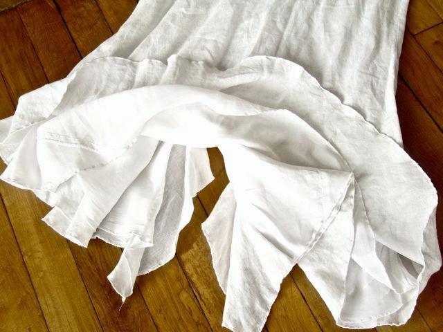 linen ruffled wedding dress