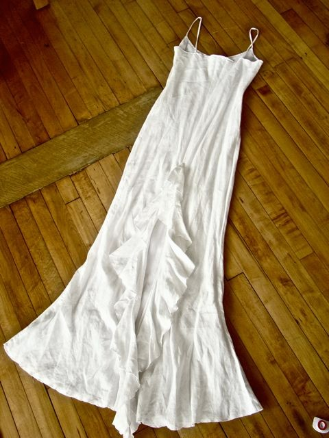 NEW JANE BOOKE White Linen Ruffle Train Wedding Dress 2 eBay