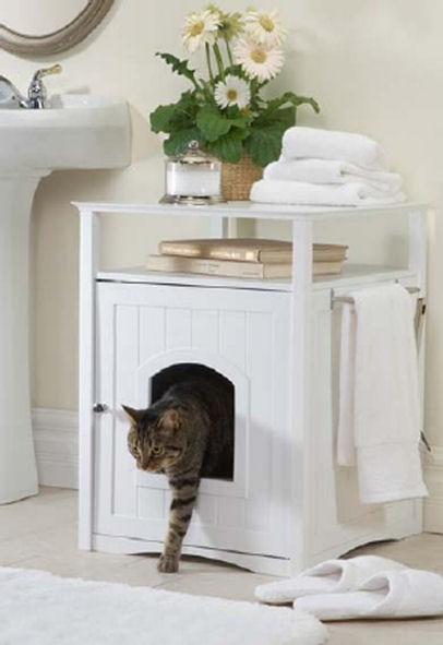 Hidden Cat Litter Box Washroom End Table Night Stand