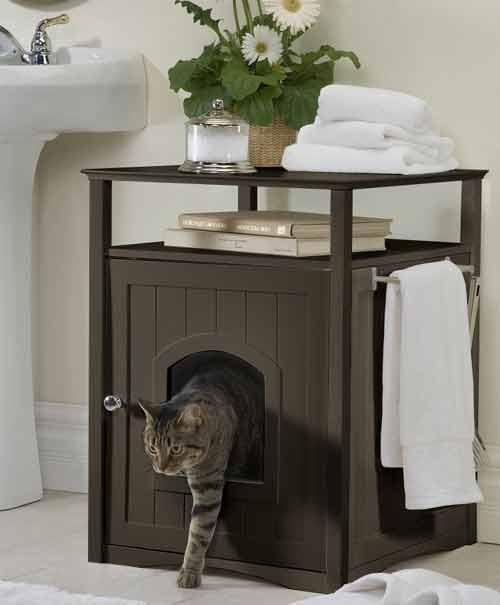 Hidden Cat Litter Box Washroom End Table Night Stand Ebay
