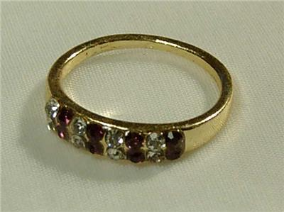 gold plated faux amethyst cz ring sz 6 5 new