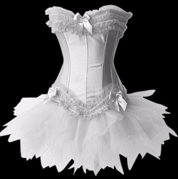 White lingerie boned satin gothic corset tutu dress ebay for Corset bras for wedding dresses