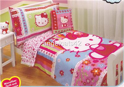 details about hello kitty 4 piece toddler bedding set