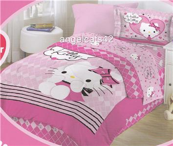 hello kitty full size comforter bed in a bag ebay. Black Bedroom Furniture Sets. Home Design Ideas