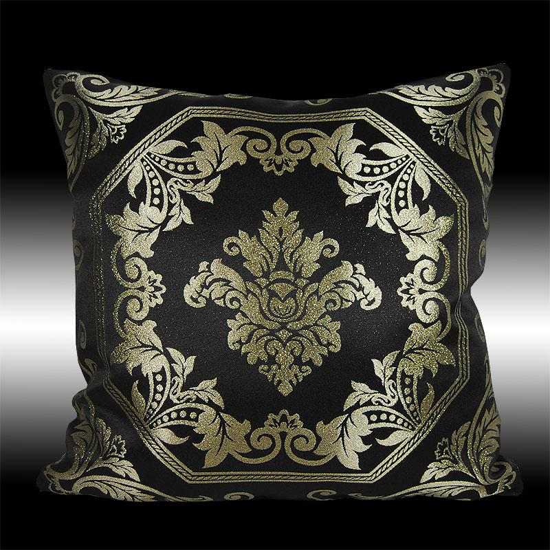 Gold Damask Throw Pillow : 2 GOLD DAMASK BLACK THROW PILLOW CASE CUSHION COVERS 16 eBay