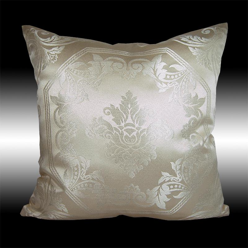2X ELEGANT SILVER/GOLD DAMASK CUSHION COVERS THROW PILLOW CASES 17