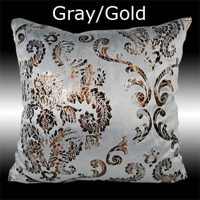 2x luxury silver gold damask velvet cushion covers throw. Black Bedroom Furniture Sets. Home Design Ideas