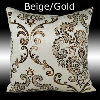 2X LUXURY SILVER/GOLD DAMASK VELVET CUSHION COVERS THROW PILLOW CASES 17""