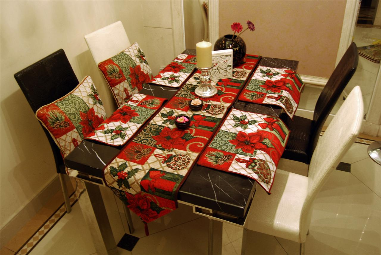 table RUNNER PILLOW  placemats CHRISTMAS RED and  POINSETTAS THROW CASES TABLE SET runners red TAPESTRY
