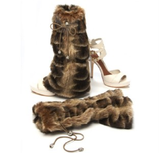 brown flare style fur boot covers shoe boot or bootie