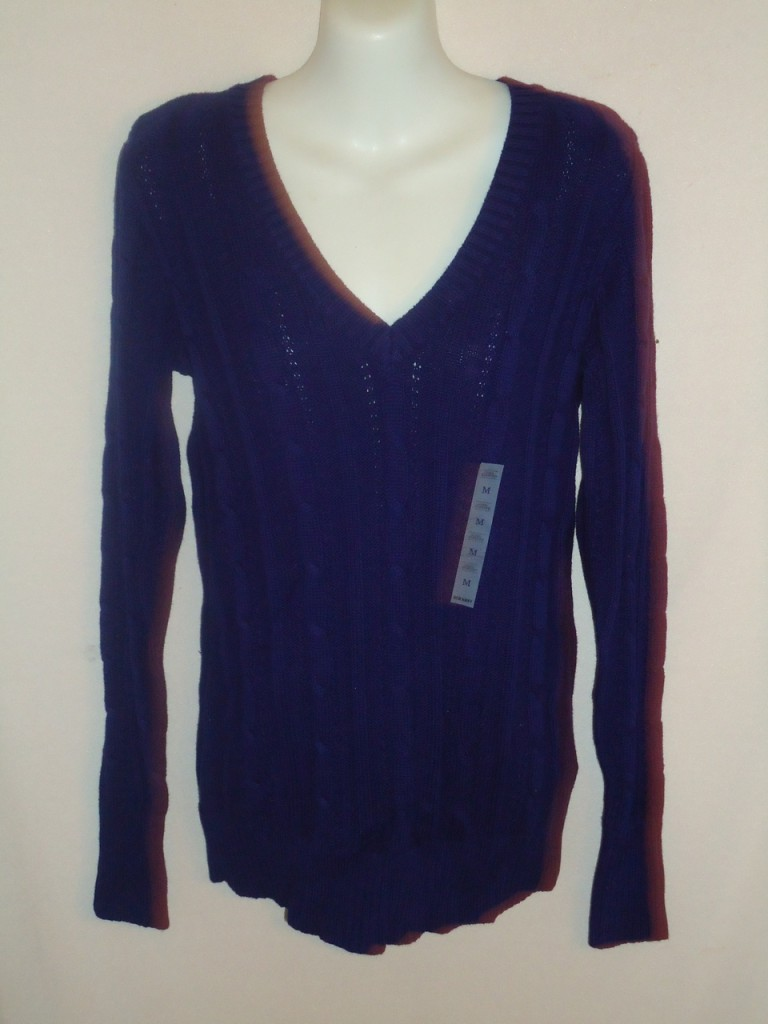 Old-Navy-cable-knit-long-sleeve-V-neck-Sweater-Choose-sz-amp-blk-blue-brown-red