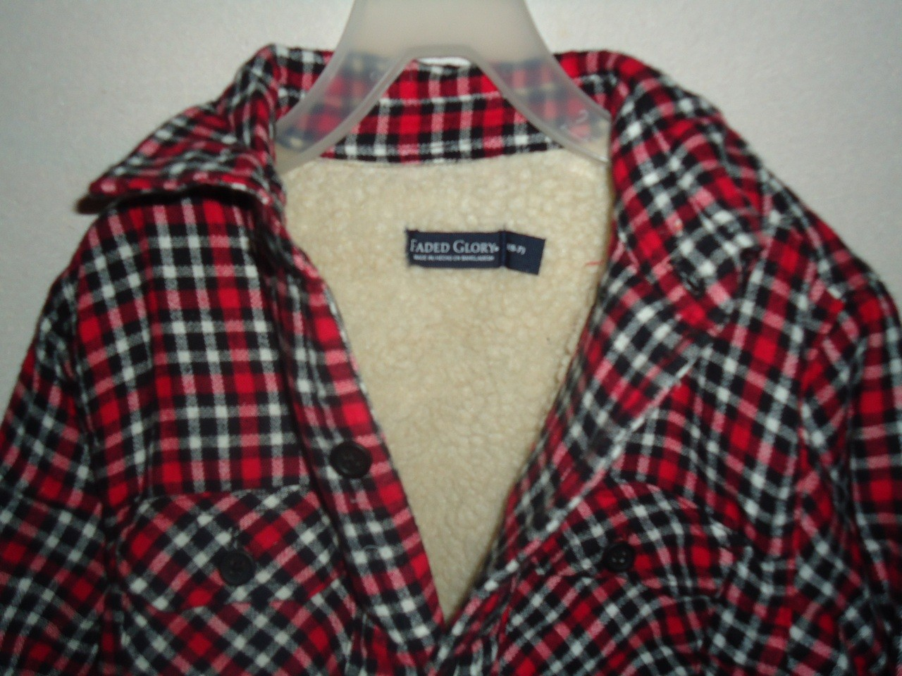 Sherpa jacket boys red black white plaid shearling lined for Sherpa lined plaid shirt
