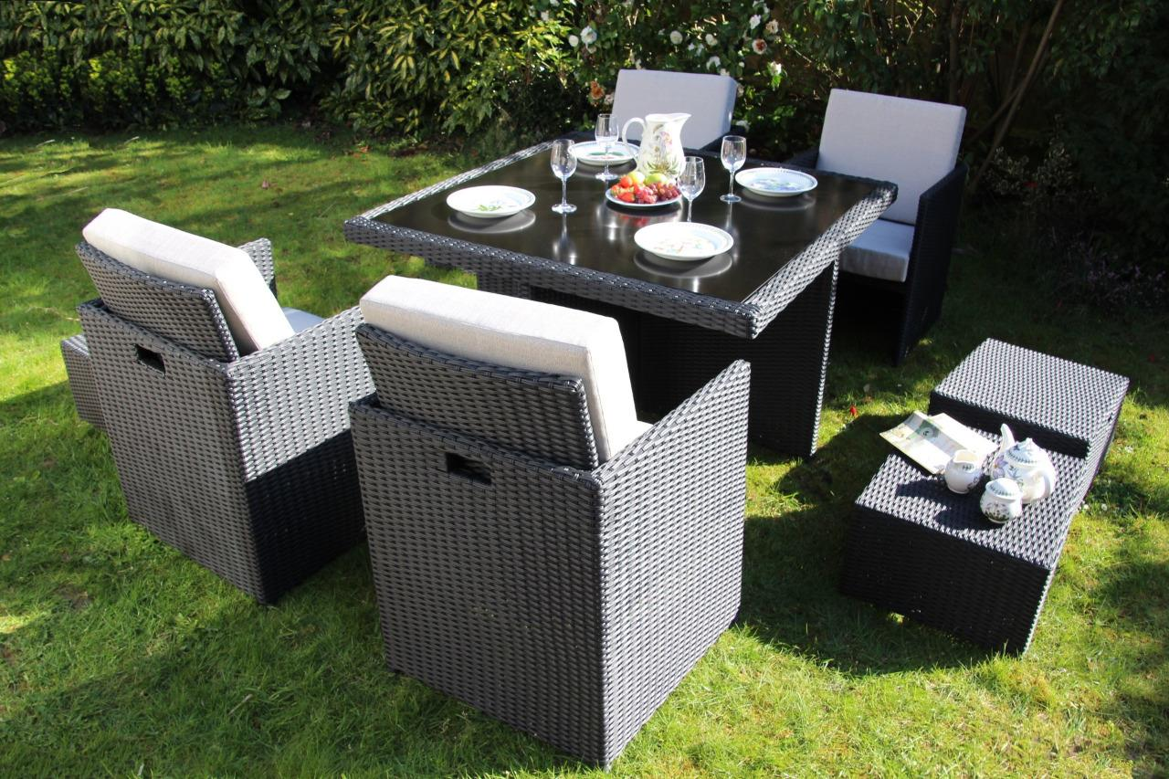 Water cube rattan 9 piece outdoor garden patio furniture for Outdoor furniture 9 piece