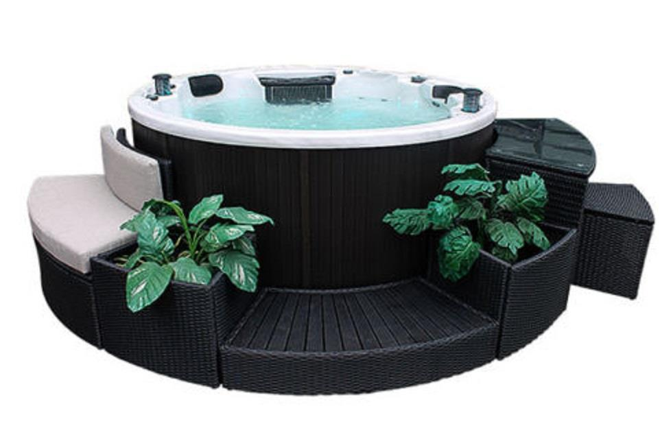5pc round spa furniture surround kit fits circular hot tub for The range lazy spa