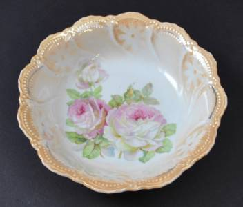 Vintage Leuchtenburg Germany Serving Bowl Pink Rose Flower