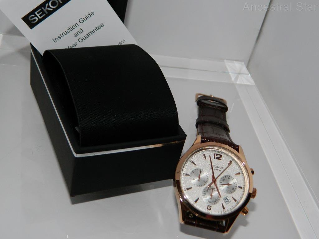 Sekonda Mens Rose Gold Plate Chronograph Brown Strap Watch 24 Hour