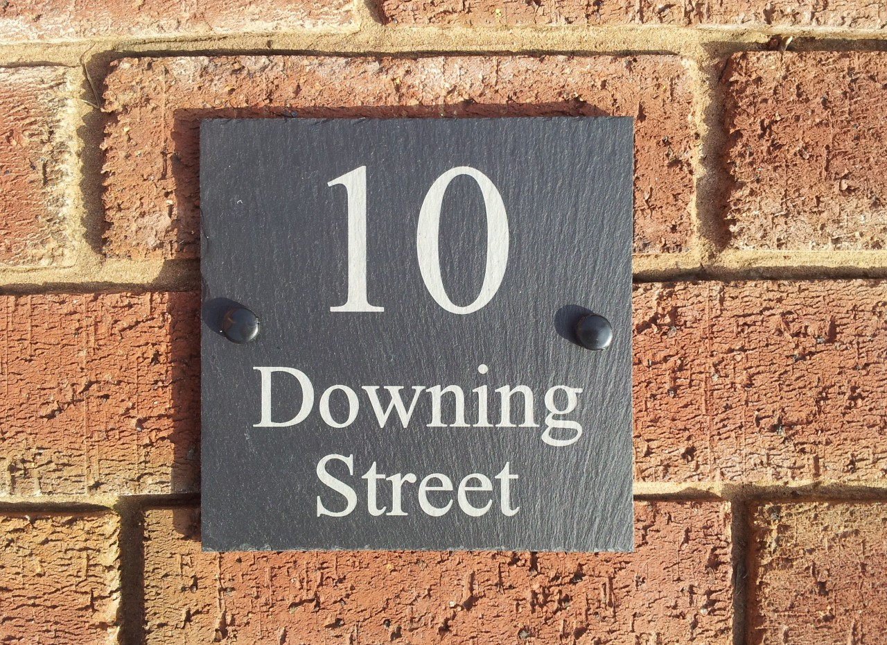 Natural slate house door gate number sign plaque