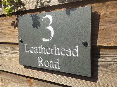 Deep engraved slate house door gate number sign plaque any for Deep house names