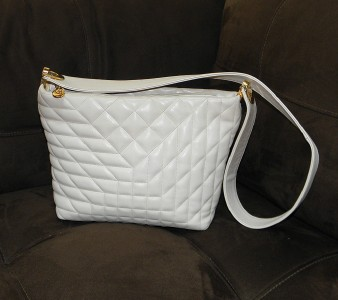 Francesco Biasia Leather Quilted Ivory Handbag Purse
