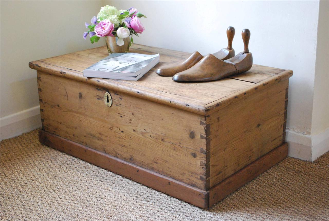 Vintage Rustic Pine Box Chest Trunk Coffee Table